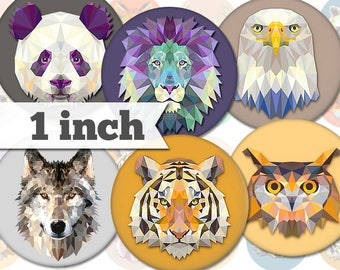 1 inch - Animals - 13 Images - Printable INSTANT DIGITAL DOWNLOAD - Pendants, Stickers, Bottle Caps, Magnets, Buttons, Collage Sheet - a001