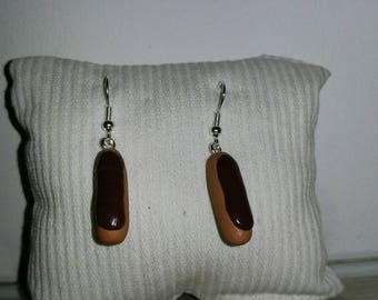 Earrings in chocolate zipper all Fimo