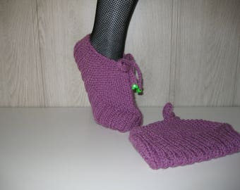 Lilac woman wool slippers
