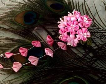 Kanzashi Sakura. mix Pink and White. so beautiful. By LIS