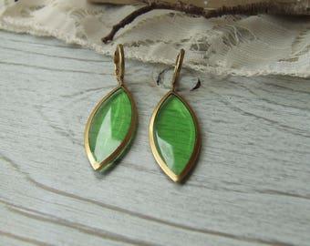 Green earrings * sheer * Golden brass - handmade