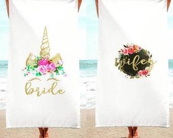 bride wifey beach towel