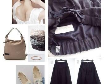 Linen skirt pants - elastic waist