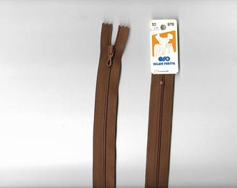 "50 cm ""plastic zipper"" closure not separable z51 Brown 979."