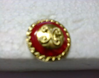 """Button edge and middle Golden, red line """"BOR18"""" ø 2.50 cm"""