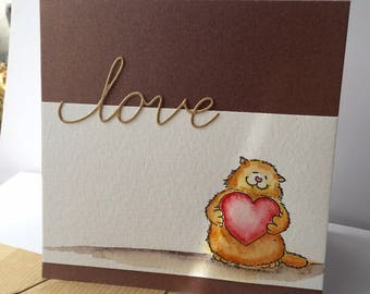 "watercolor card ""love"" pussycat ;-)"