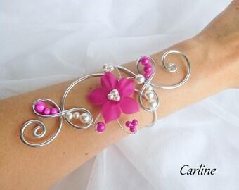 Lexie - Aluminum Fuchsia silk flower wedding Bracelet and white
