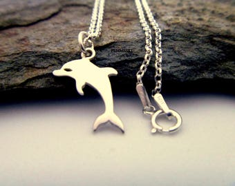 Dolphin Charm Necklace - 925 Sterling Silver Dolphin Necklace - Dolphin Pendant - Dolphin Jewelry - Ocean Jewelry - Beach Jewelry - Nautical