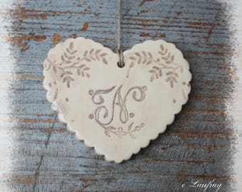 Heart custom shabby chic style ceramic scalloped, beige original ' feel