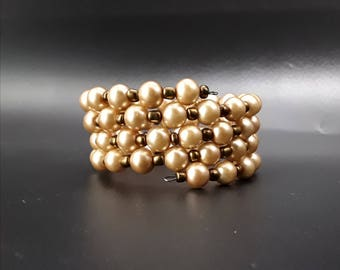 CLEARANCE Handcrafted Brown Pearl Memory Wire Bead Bracelet