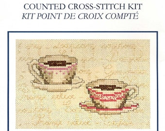 complete kit dmc counted cross stitch cups