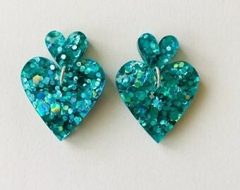 NEW NEW NEW!! Peacock Green Lux Glitter Double Heart Drop Earrings
