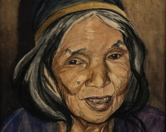 Print ON CANVAS from Original Watercolor Painting, Portrait of old lady. Woman,wall art and home decor,vintage