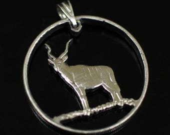 Greater Kudu  Pendant & Necklace, Eritrea Hand Cut Coin 50 cents Africa