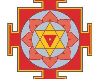 Colored hinduism Baglamukhi maha yantra