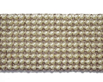 Ribbon wire gold Pearl Beige 3.5 cm x 50 cm