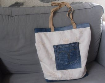 Recycled denim and upholstery canvas bag