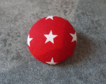 30mm red fabric covered button