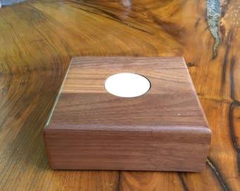 Wooden Staved Walnut Tealight Holder Square, Birthday, Housewarming, Valentines, Mothers Day, Gift, Present, Rustic Homeware