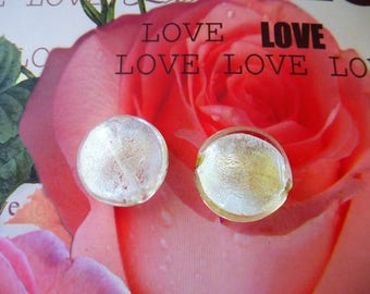 2 Pearl pucks 20 mm round silver foil lampwork PL 057 2 inner white pebbles