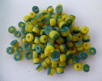 washers beads recycled glass African ethnic 30 pcs