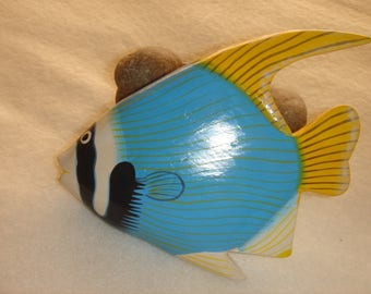 Exotic fish magnet wooden decorative emantee South seas