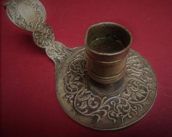 Candle holder hand engraved brass * old 14/4 cm