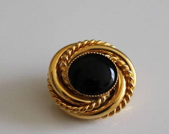 elegant button, high fashion, black and gold, 24 mm round