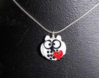"""Necklace """"White OWL in love"""" glass spun torch"""
