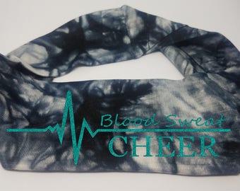 Blood Sweat Cheer Black Tie Die Headband