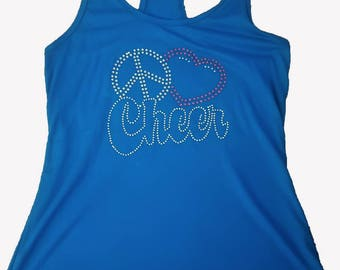 Peace Love Cheer Rhinestone Tank