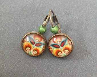 Cabochon 12mm floral earrings