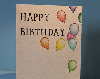 Hand Drawn Happy Birthday Card with Balloons