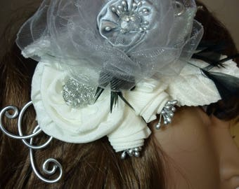 Flower bridal brooch or hair accessory