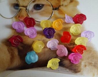 rose shaped acrylic set of 20 beads
