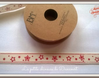 Spool of 3 m of Ribbon red stars no. 2