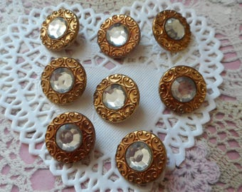 Vintage rhinestone buttons old Golden plastic shank 2.00 mm diameter (with 8 buttons)