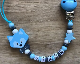 Pacifier clip personalized - Fox - Anthony