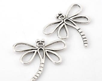1 charm 35 mm silver Dragonfly charm pendant