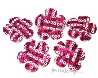Dark pink set of 5 flowers embellishment scrapbooking also sequins fabric