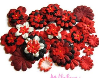 WHOLESALE LOT of 50 red paper, black embellishment scrapbooking flowers *.