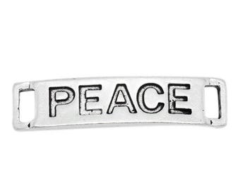 2 connectors rectangular engraving PEACE silver antique bracelet