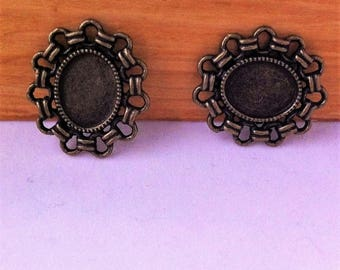 2 support cabochons oval connectors 26 x 23.5 mm bronze decorated