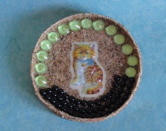 door decoration wall round cat, Pearl and sand