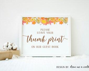 Thumb Print , Fall in love Wedding Sign , Finger Print Tree , Fall in love Thumbprint Guestbook , Printable