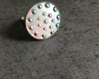 adjustable silver ring mother of Pearl cabochon