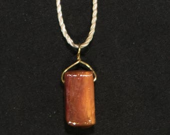 "Simple Wooden Pendant with 24"" Necklace"