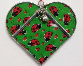 Large Stained Glass Heart Ladybugs ~ Two-Sided ~ Large 5.5  Inches with Heart and Ladybug Charms