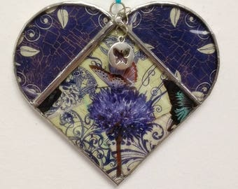 Stained Glass Heart Butterfly on Thistle ~ Two-Sided ~ Large 5.5  Inches with a Butterfly Charm