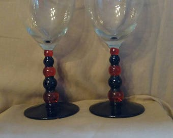 Black and Red Bubble Steam Wine Glass set / Valentine's day/ Gift / Anniversary/ wedding